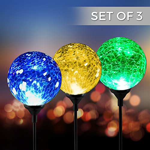 Solar Powered Crackle Glass Ball- 7 Color Changing Stake Lights- Set of 3- Weatherproof Design- Decorative Landscape Lamps- Wireless Outdoor LED Accent Lighting- Best Decor for Garden/ Yard/ Path (3) (Outdoor Lantern Set Post)