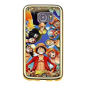ONE PIECE Phone Case Hot Classical Japanese Anime One Piece TPU Gold Frame Samsung Galaxy S6 Edge Phone Cover Case
