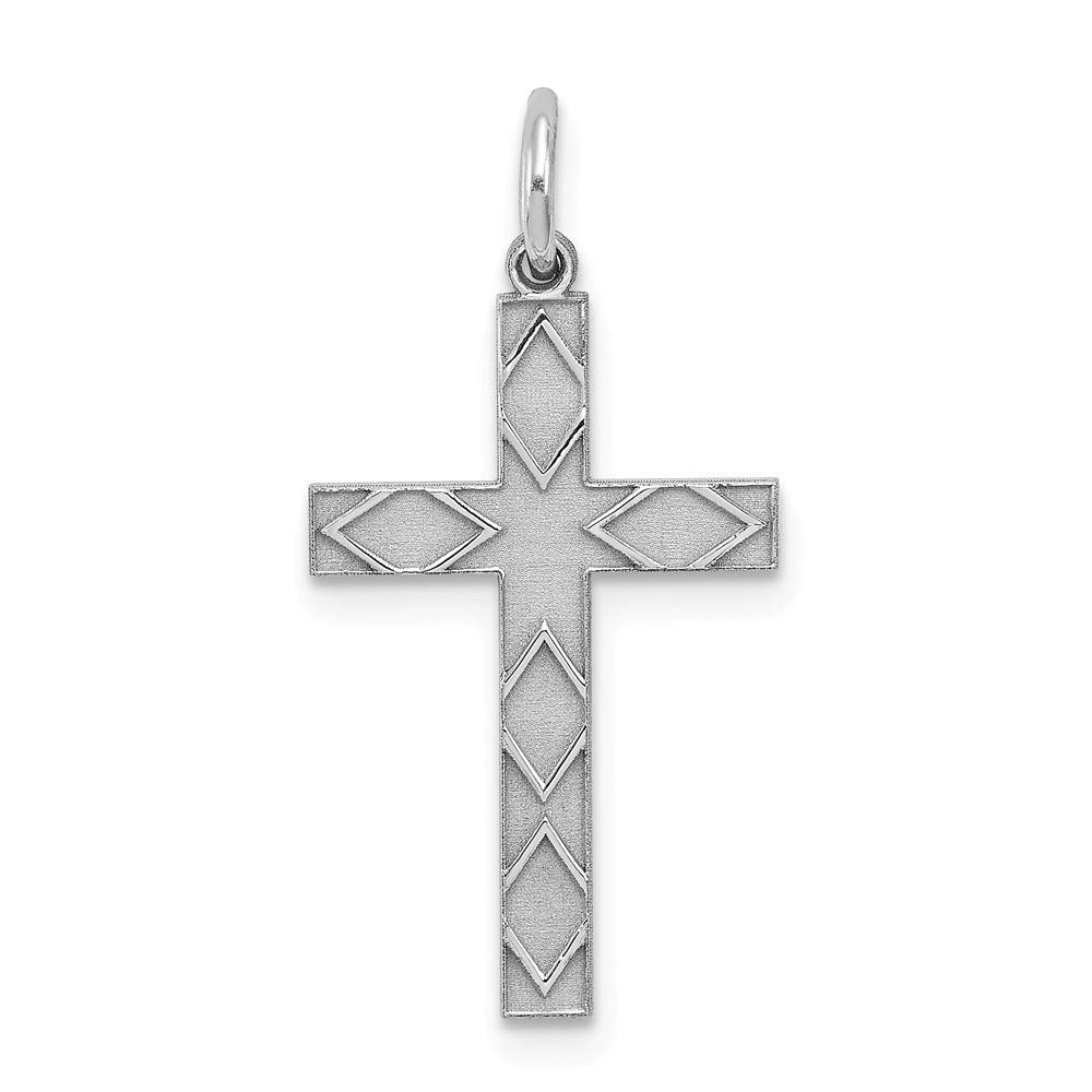 Sterling Silver Rhodium-plated Laser Designed Cross Pendant Sterling Silver