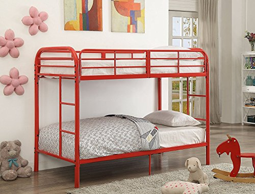 major q red metal tube supported twin over twin bunk bed with build in 2 side. Black Bedroom Furniture Sets. Home Design Ideas