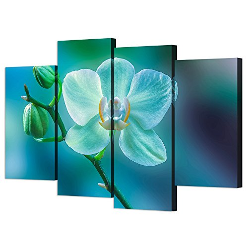 VVOVV Wall Decor - Modern Framed Floral Canvas Wall Art Print Butterfly Orchid Picture Poster Phalaenopsis Orchid Flowers Still Life Painting Contemporary Home Decor Giclee Artwork (Phalaenopsis Orchid Picture)