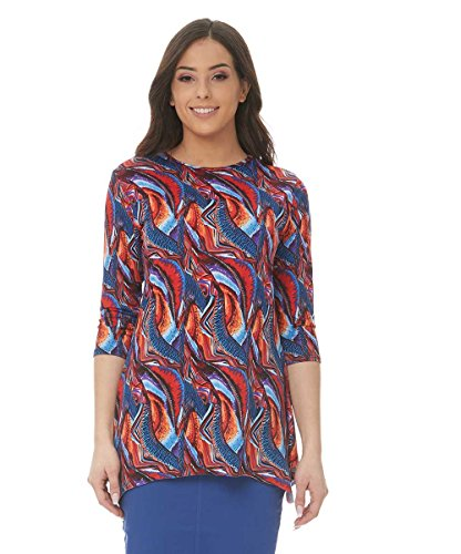 Esteez Womens 3/4 Sleeve Loose Fitting Top Daisy Psychedelic Small