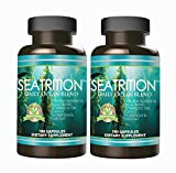 Seatrition 550mg 180 Veg Capsules 100% Pure Seaweed Blend 12 Varieties of Red Green Brown Algae Kelp Sea Vegetable Plants Dietary Supplement 6 months supply by Daily Health Seatrition