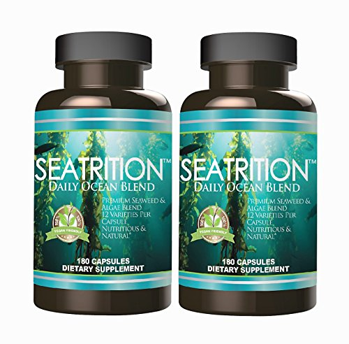 Seatrition 550mg Pure Seaweed Blend 2 bottles Veg capsules 12 Sea Vegetable Plants PLUS 1 btl Coral Calcium Supreme 1000mg 90ct Ocean Minerals Dietary Supplement by Daily Health Seatrition