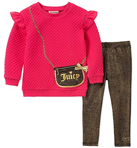 Juicy Couture Girls' Toddler 2 Pieces Tunic Legging Set, Pink/Black Print, 3T from Juicy Couture