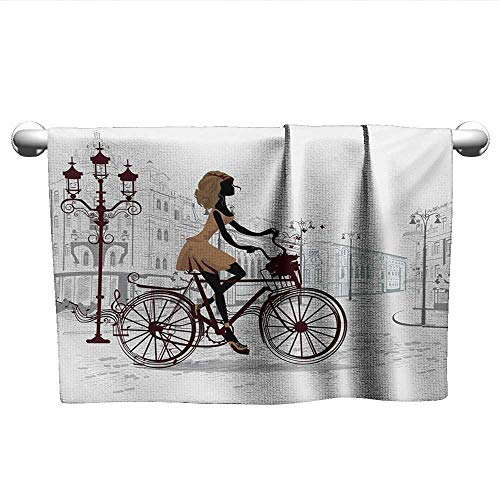 Teen Room,Pool Towels Young Girl in Paris Streets with Bicycle French Style Display Bathroom Hand Towels Chestnut and Pale Brown Pearl W 28
