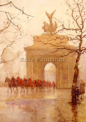 BARTON ROSE MAYNARD HYDE PARK CORNER HOUSEHOLD CAVALRY ARTIST PAINTING CANVAS 40x28inch