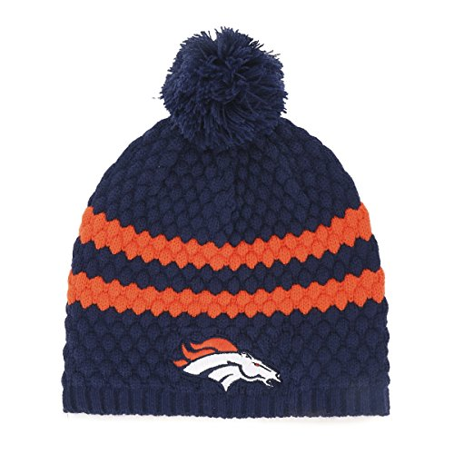 NFL Denver Broncos Women's Winona OTS Beanie Knit Cap with Pom, Light Navy, Women's
