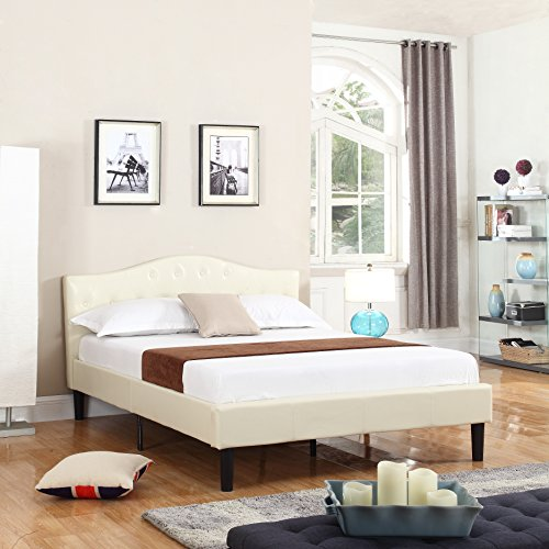 Classic Deluxe Bonded Leather Low Profile Platform Bed Frame with Curved Headboard Design and Button Details – Fits Queen Mattresses – Ivory