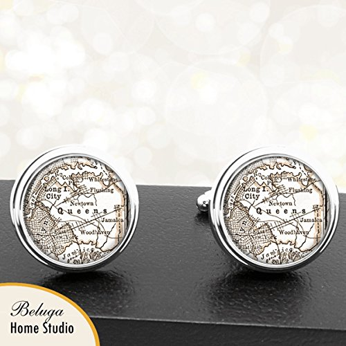 Queens NY Antique Map Cufflinks Handmade City Cuff Links State of New York