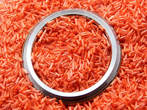 The Design Cart Orange Twisted Bugle Glass Beads (6 MM, 450 Grams) for Jewellery Making, Embroidery, Beading, Art and Craft