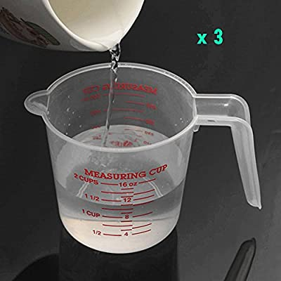 3 OF PACK 500ML Clear Plastic Measuring Cup