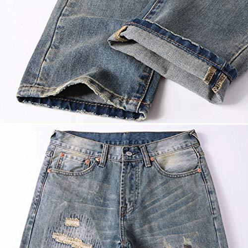 Strappati Denim Skinny Jeans Slim Uomo Fit Moda Da Blu Casual Retrò Pantaloni Blau Usedlook atqA8af