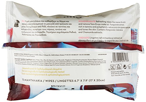 Korres Cleansing Wipes, Pomegranate, 25 Count