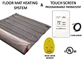 40 Sqft Warming Systems 120 V Electric Tile Radiant Floor Heating Mat with Touch Screen Programmable Thermostat