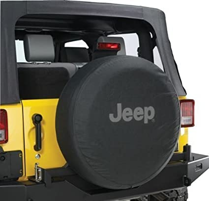 Good Jeep Wrangler Black Denim W/ Logo Spare Tire Cover 32 33 Inch Mopar OEM