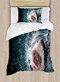 Ambesonne Shark Duvet Cover Set Twin Size, Wild Animal in The Sea Attacking Showing The Mouth and Teeth Scary Print, Decorative 2 Piece Bedding Set with 1 Pillow Sham, Petrol Blue Grey White