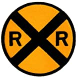 Railroad Crossing Road Sign Embroidered Patch Iron-On Train Railway RR Xing Emblem, Bags Central
