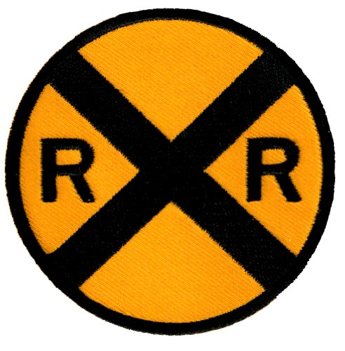 Railroad Crossing Road Sign Embroidered Patch Iron-On Train Railway RR Xing Emblem