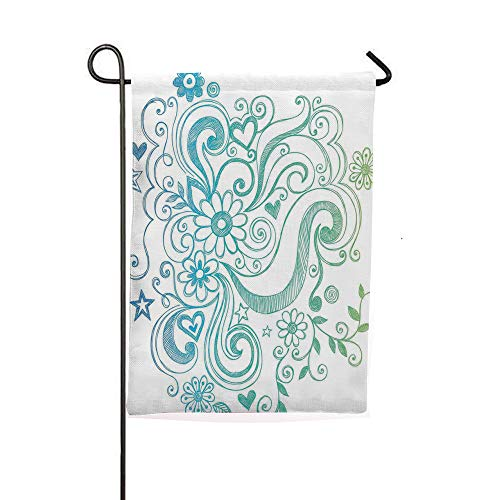 iPrintsophierhome Garden Banner Outdoor Flag Flags,Sketch Design with Florals Blossom Ivy Leaves,Blue,Holiday Decorations Outdoor Garden Decoration Digital Printing Flag