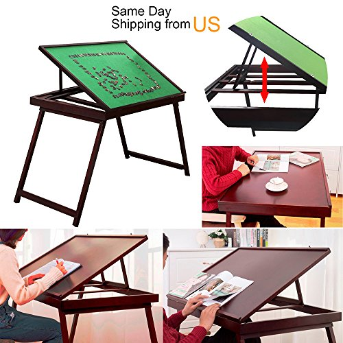 Foldable Jigsaw Puzzle Table Folding Tilting Table 1500 pcs Mat PTT Playing Desk by WUDON
