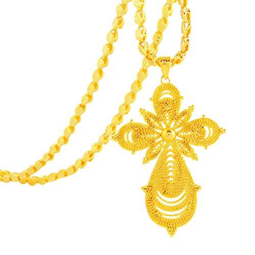 Unisex 18K Gold Plated Ethiopian Cross Pendant With Ethiopian Handmade Chain Eritrea -
