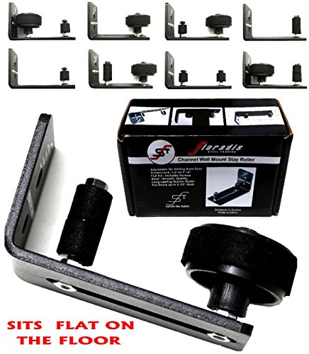 FLORADIS 8 DIFFERENT SETUPS BLACK FLAT FLOOR STOP GUIDE for BOTTOM of SLIDING BARN DOORS HARDWARE/ THIN FULLY ADJUSTABLE WALL MOUNT STAY ROLLER BRACKET/ FLUSH to FLOOR/ ULTRA SMOOTH SLIDE (Adjustable Bottom Roller)
