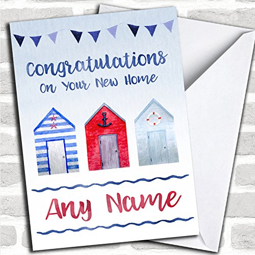 Watercolour Beach Hut New Home Personalized Greetings - The Contact Number Hut