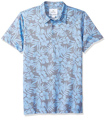 28 Palms Men's Relaxed-Fit Performance Cotton Tropical Print Pique Golf Polo Shirt, Washed Blue Hibiscus Floral, X-Large ()
