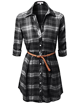 Awesome21 Women's Super Cute Flannel Plaid Checker Shirts Dress with Belt