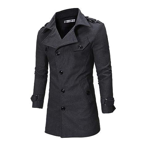 ♚ Abrigo de Viento para Hombre, botón de otoño Invierno con Capucha Trench Coat Chaqueta de Manga Larga Outwear Blusa Absolute: Amazon.es: Ropa y ...