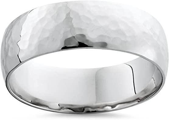 platinum /& silver Forged design Hammered mens wide wedding ring 6mm or 8mm in white gold