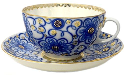 Lomonosov Porcelain Tea Set 2 Pc Cup and Saucer Bindweed Morning Glory 8.45 oz/250 ml