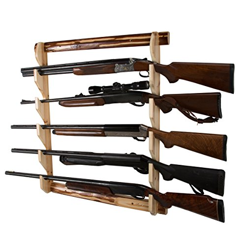Best Prices! Rush Creek Creations Rustic Gun Wall Storage Rack - Handcrafted Solid Pine - Easy to As...