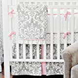 New Arrivals Stella Gray 4 Piece Crib Bedding Set, Grey
