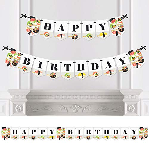 - Big Dot of Happiness Let's Roll - Sushi - Japanese Birthday Party Bunting Banner - Birthday Party Decorations - Happy Birthday