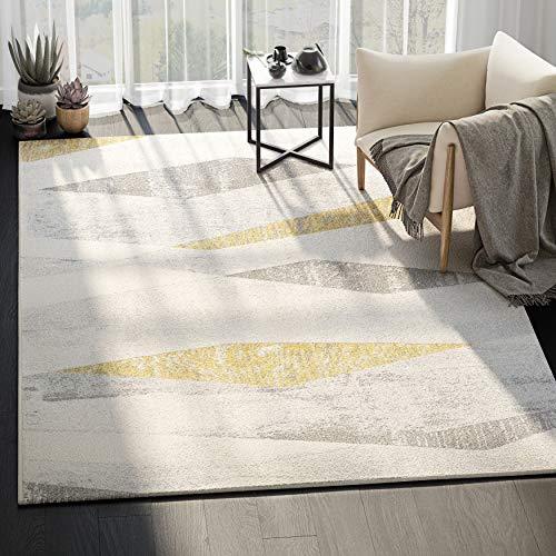 Abani Geometric Pattern Modern Area Rug - 100% Polypropylene, Turkish, Machine Made, Laguna Collection (5x7, Grey and Yellow)