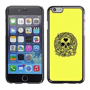 MobileHut / Apple Iphone 6 Plus 5.5 / Yellow Love Heart Skull Wreath Death / Delgado Negro Plástico caso cubierta Shell Armor Funda Case Cover