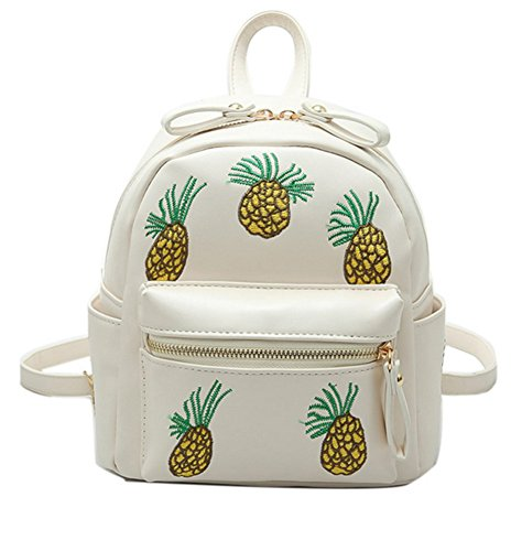Skyseen Womens PU Leather Embroidery Pineapple Backpack School Satchel Shoulder Bag