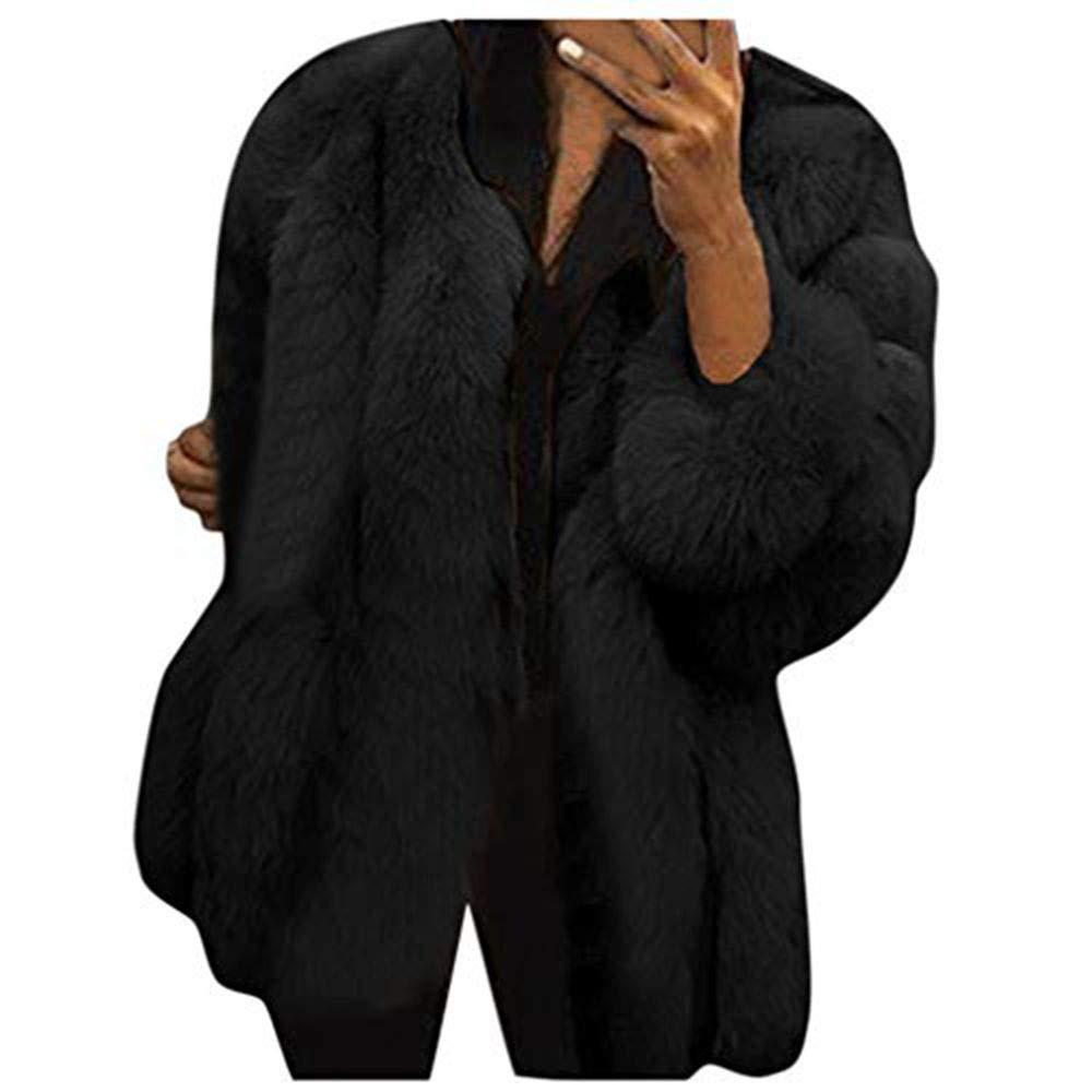 Alangbudu Women Fluffy Plush Faux Fur Pullover Warm Overcoat Jacket Outwear Long Puffy Sleeve Streetwear Tops Tunic Black by Alangbudu-Women's Long sleeve blouses & sweatshirts & hoodies