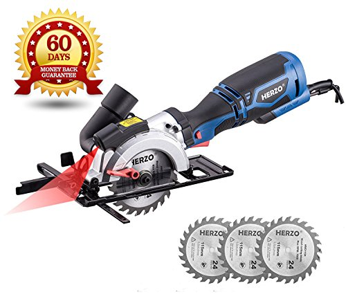 HERZO Compact Circular Saw 4-1/2″ with Laser Guide, Max Cutting Depth 1-9/10'' (90°), 1-3/10'' (0°-45°) with 3 Wood Cutting Blades – 5.8A 3500 rpm For Sale