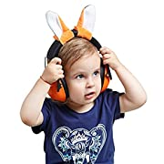 Adorable baby ear protectors for babies, toddlers and kids. Easily adjustable for canceling noises and calming infants, by Growing Giants. (white)