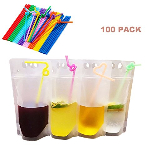 100pcs Clear Drink Pouches Bags Heavy Duty Hand-held Translucent Reclosable Zipper Stand-up Plastic Pouches Bags Drinking Bags 2.4'' Bottom Gusset with Straws by LALIFIT
