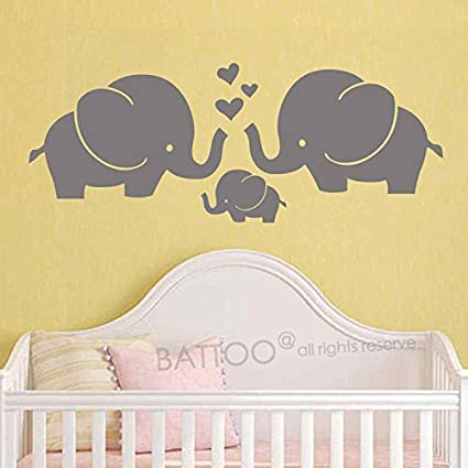 Amazon.com: BATTOO Cute Elephants Wall Decal Elephant Family Vinyl ...