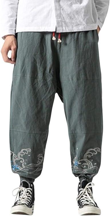 Suces Pantalones Haren Para Hombre De Algodon Y Lino Con Perneras Anchas Vintage Para Playa Vacaciones Para El Tiempo Libre Estilo Retro Azul Xl Amazon Es Ropa Y Accesorios