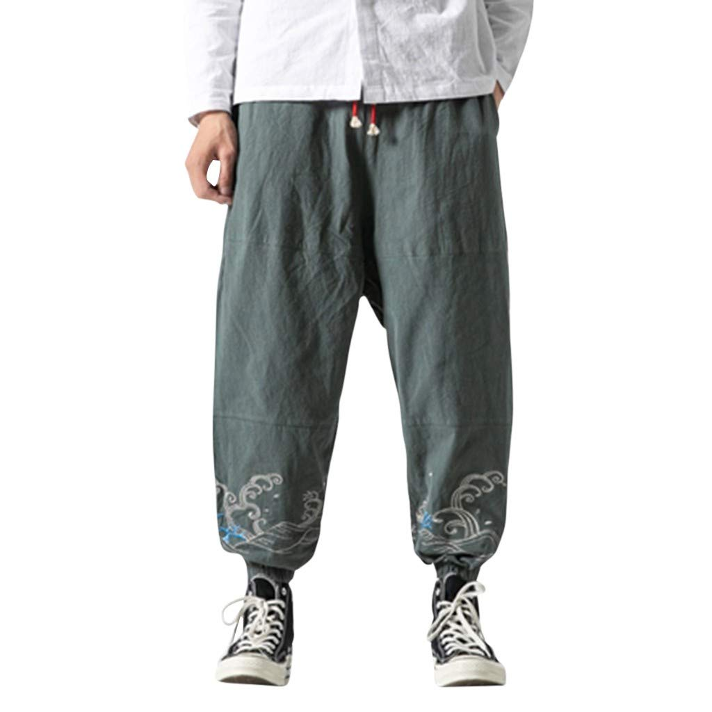 Alalaso Men's Summer Casual Baggy Drawstring Cotton Linen Beach Harem Pants Trousers Blue