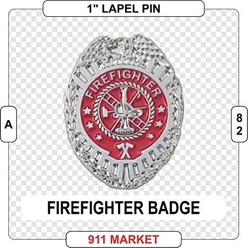 Firefighter Badge Lapel Pin Silver FF Fireman Fire Department Service - A -
