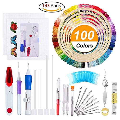 Embroidery Starter Kit Full Set - Including Magic Embroidery Pen Punch Needle,5 Pieces Bamboo Embroidery Hoops, 100 Color Threads,Embroidery Needles Stitching Punch Pen Set Craft Tool for Beginner ()
