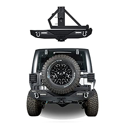 bd75e1824b Amazon.com  Hooke Road Different Trail Rear Bumper Model A w  2x 18W LED  Accent Lights   Tire Carrier for 07-18 Jeep Wrangler   Wrangler Unlimited JK   ...