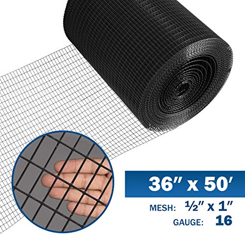 Fencer Wire 16 Gauge Black Vinyl Coated Welded Wire Mesh Size 0.5 inch by 1 inch (3 ft. x 50 ft.)
